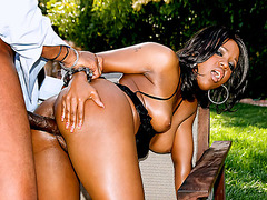 Wondrous outdoor doggystyle pounding for sweet ebony