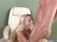 Holly Halston gives fellatio and copulates her guy