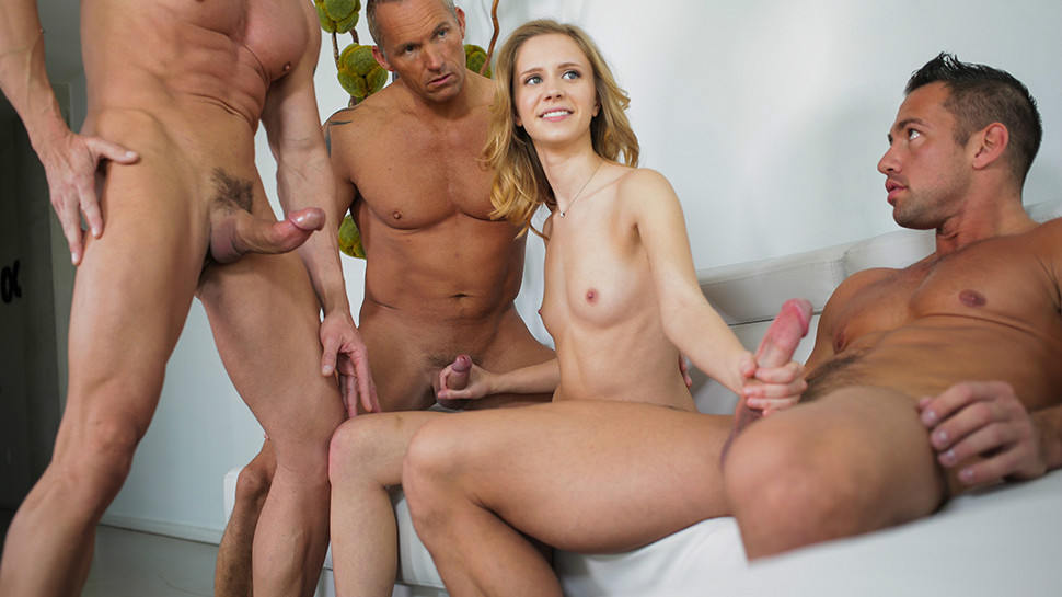 Naked one girls fucking two man